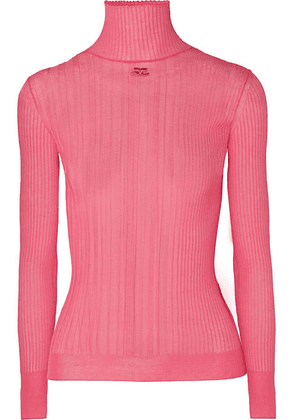 Courrèges - Embroidered Ribbed Cotton-blend Turtleneck Sweater - Pink
