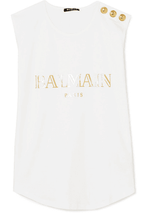 Balmain - Button-embellished Printed Cotton-jersey Tank - White