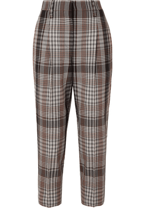 Brunello Cucinelli - Cropped Plaid Wool Tapered Pants - Brown