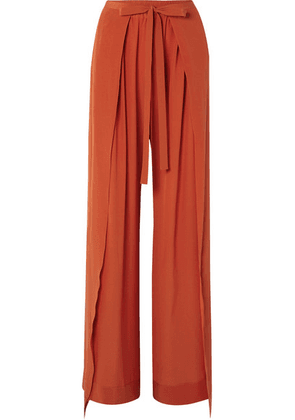 Chloé - Layered Silk-crepe Wide-leg Pants - Orange