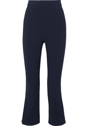 Cushnie - Cropped Pleated Crepe Straight-leg Pants - Navy