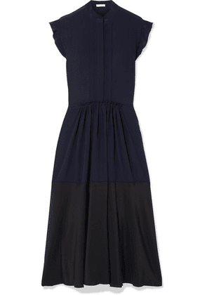 Chloé - Ruffle-trimmed Two-tone Silk-georgette Midi Dress - Navy