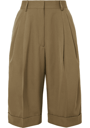 Dries Van Noten - Partan Pleated Cotton Shorts - Army green