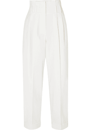 Brunello Cucinelli - Cropped Wool-blend Tapered Pants - White