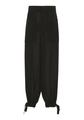 Loewe Low-Rise Broadcloth Wide-Leg Trousers