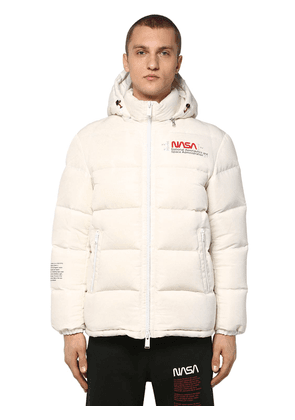 Nasa Print Zip Tech Down Jacket W/hood