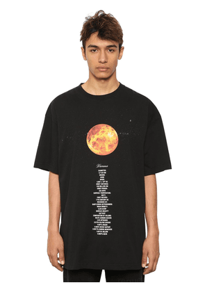 Oversized Planet Printed Cotton T-shirt