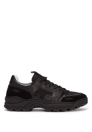 Ami - Running Lucky 9 Suede And Mesh Trainers - Mens - Black