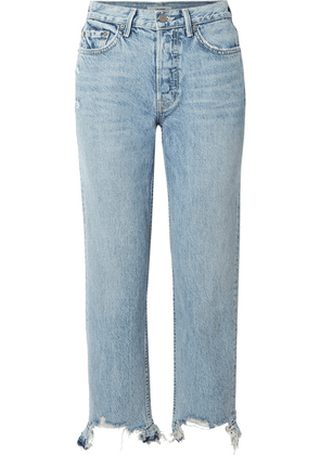 GRLFRND - Helena Distressed High-rise Straight-leg Jeans - Light denim