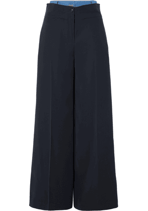ADEAM - Layered Denim-trimmed Crepe Wide-leg Pants - Navy