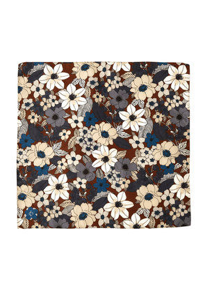 Brown and Light Blue Floral Pattern Silk and Cotton Pocket Square