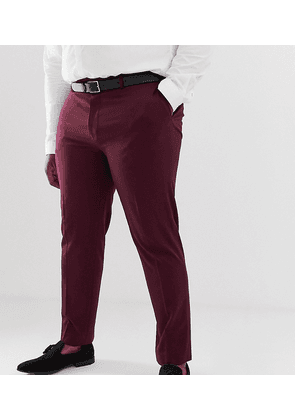 River Island Big & Tall skinny suit trousers in burgundy