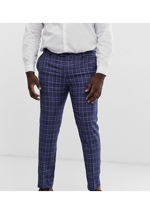 River Island Big & Tall suit trousers in blue check