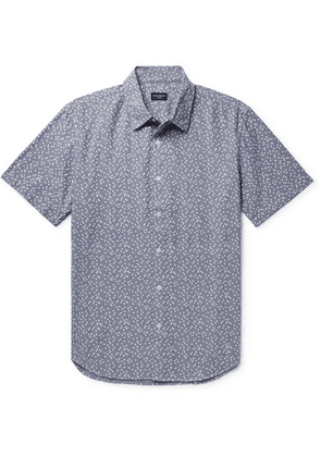 Club Monaco - Slim-fit Printed Cotton-chambray Shirt - Blue
