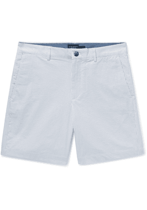 Club Monaco - Baxter Slim-fit Pinstriped Cotton-blend Seersucker Shorts - Light gray