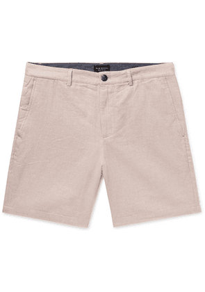 Club Monaco - Baxter Slim-fit Mélange Linen And Cotton-blend Chambray Shorts - Pink