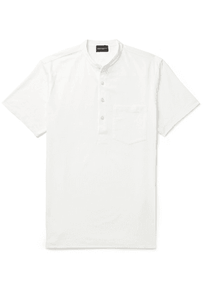 Club Monaco - Striped Cotton-blend Jersey Henley T-shirt - Off-white
