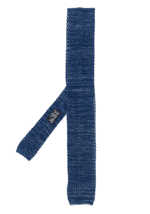 Barba perforated knit tie - Blue