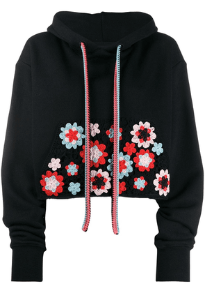 Alanui cropped embroidered hoodie - Black