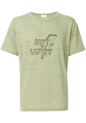 Saint Laurent logo patch T-shirt - Green