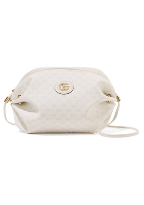 Gucci - Candy Leather-trimmed Coated-canvas Shoulder Bag - White