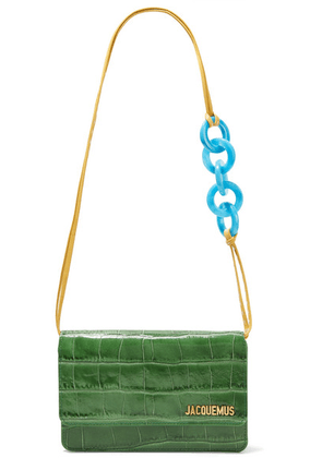 Jacquemus - Le Riviera Glossed Croc-effect Leather Shoulder Bag - Dark green