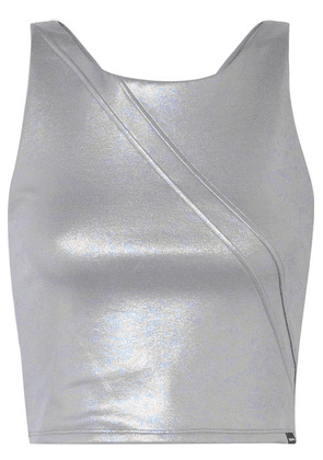 Koral - Point Cropped Iridescent Stretch-scuba Top - Silver