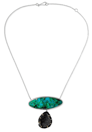 Melissa Joy Manning - 14-karat Gold, Sterling Silver, Druzy And Chrysocolla Necklace - one size