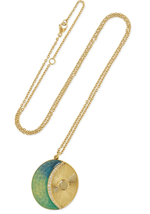 Brooke Gregson - Moonbeam 18-karat Gold, Enamel And Diamond Necklace - one size