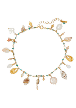 Chan Luu - Gold-plated, Shell And Multi-stone Anklet - Turquoise