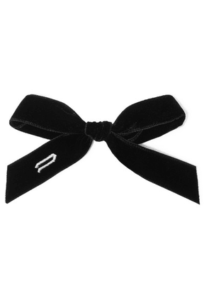LELET NY - Alphabet Embroidered Velvet Hairclip - Black