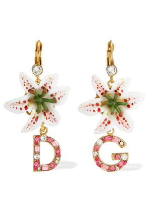 Dolce & Gabbana - Lilium Gold-tone, Resin And Crystal Earrings - Pink