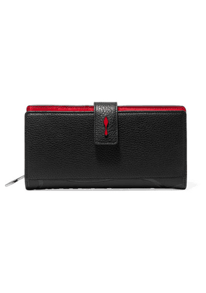 Christian Louboutin - Paloma Rubber-trimmed Textured-leather Wallet - Black