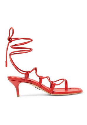 Paul Andrew - Wrap It Up Leather Sandals - Red