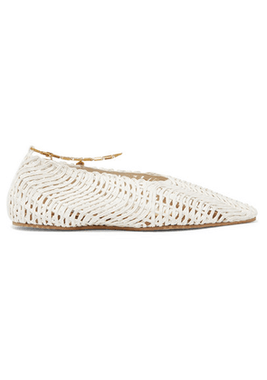 Stella McCartney - Embellished Woven Cotton Point-toe Flats - White