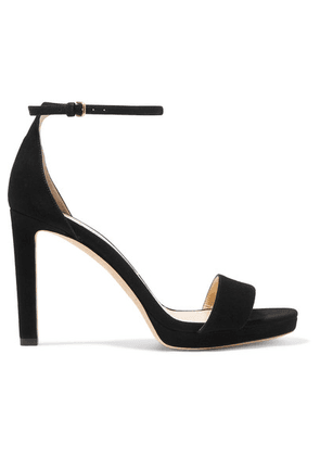 Jimmy Choo - Misty 100 Suede Platform Sandals - Black