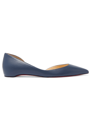 Christian Louboutin - Iriza Leather Point-toe Flats - Mid denim