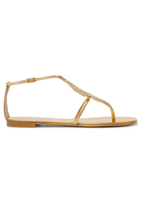 Giuseppe Zanotti - Josie Embellished Mirrored-leather Sandals - Gold