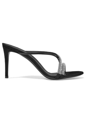 Giuseppe Zanotti - Croisette Crystal-embellished Leather And Suede Sandals - Black
