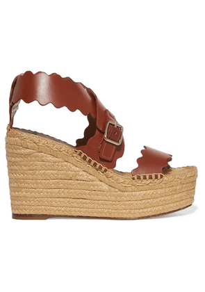 Chloé - Lauren Scalloped Leather Espadrille Wedge Sandals - Brown