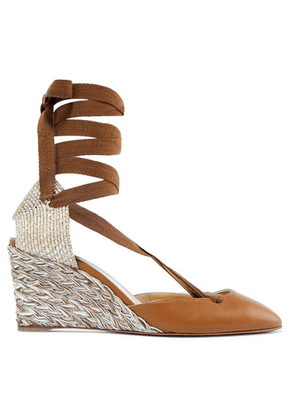 Christian Louboutin - Noemia 70 Leather Wedge Espadrilles - Tan