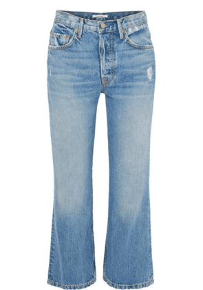 GRLFRND - Linda Distressed Cropped High-rise Flared Jeans - Mid denim
