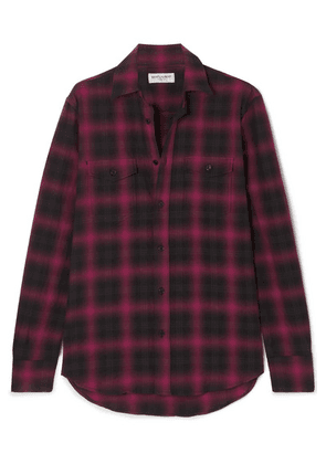 SAINT LAURENT - Checked Cotton-flannel Shirt - Black