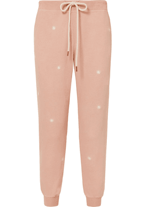 The Great - The Cropped Embroidered Slub Cotton-jersey Track Pants - Pink