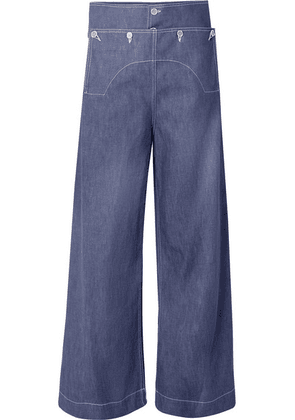 Marni - Button-embellished High-rise Wide-leg Jeans - Blue