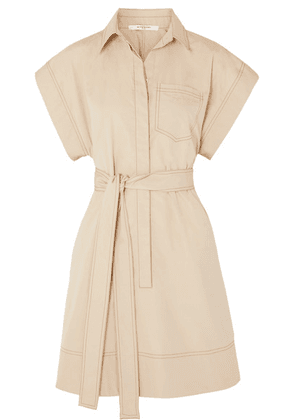 Givenchy - Belted Cotton-poplin Mini Dress - Beige