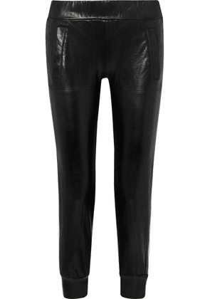 Norma Kamali - Neoprene-trimmed Coated Jersey Track Pants - Black