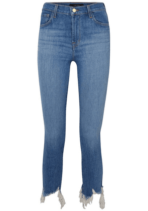 J Brand - Ruby Cropped Frayed High-rise Slim-leg Jeans - Mid denim