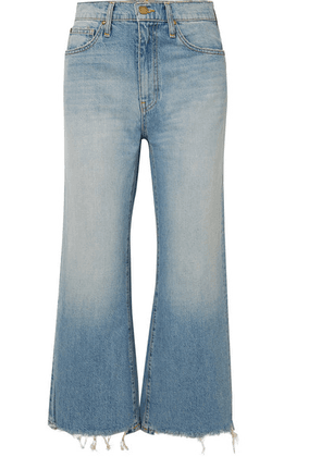 The Great - The Rider Cropped Frayed High-rise Wide-leg Jeans - Light denim