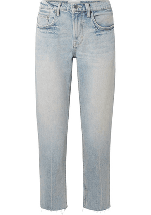 Current/Elliott - The His Cropped Distressed Boyfriend Jeans - Light denim